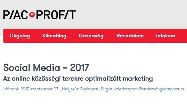 Piac&Profit Social Media 2017 Konferencia